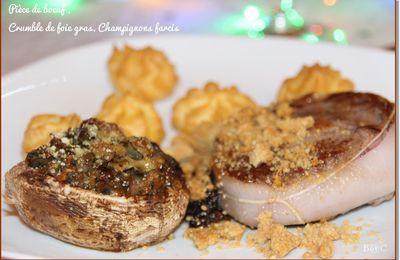 Pièce de boeuf juste poêlée, crumble de foie gras, champignons farcis
