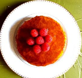 Cake financier bergamote, Framboises fraîches