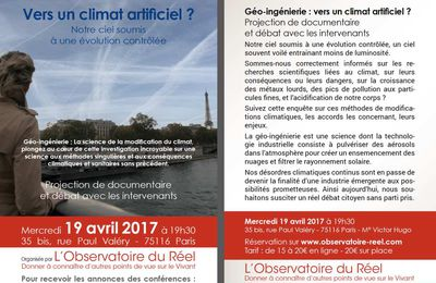 Vers un climat artificiel ? Le 19 avril 2017 à Paris