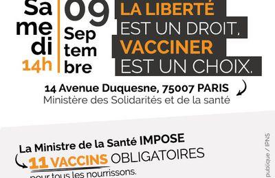 Ensemble pour la liberté vaccinale : samedi 9 septembre  à Paris
