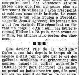 Port Cros en 1930 dans la presse
