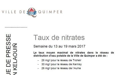 Taux de nitrates à Quimper du 13 au 19 mars