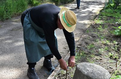 """"""" Je triangule """" explique Roger Rose aux visiteurs des jardins de Melgven à Penhars"""