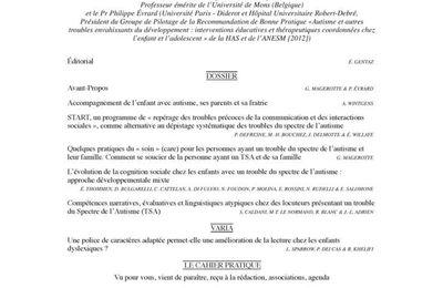 ANAE N° 144 - Troubles du Spectre de l'Autisme coordonné par G. Magerotte et Ph. Evrard