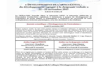 Appel à communication - Développement de l'articulation : du développement typique à la dyspraxie verbale