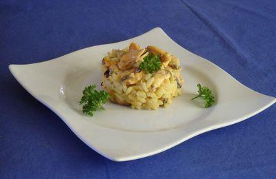 Risotto de moules au bouillon de crustacés safrané et au parmesan
