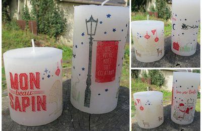 Bougie décorée avec les tampons stampin up