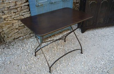 grande table d 39 atelier 1 tiroir brossee patinee bleue 1950 mettetal industry design. Black Bedroom Furniture Sets. Home Design Ideas