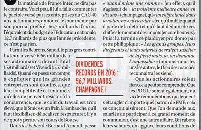 Ceux ( dont Seux, de France Inter), qui se félicitent des 56 milliards de dividendes distribués aux actionnaires des entreprises du CAC 40 gémissent à l'idée d'augmenter le SMIC