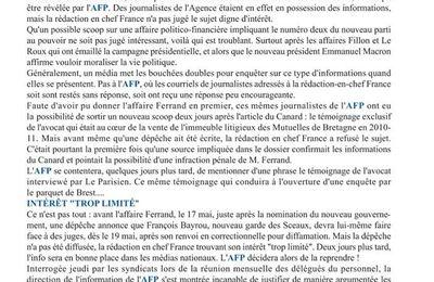 Quand L'AFP ÉTOUFFE DES INFORMATIONS GÊNANTES pour le NOUVEAU POUVOIR [snj-CGT]