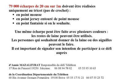 Défi Echarpes du Telethon....