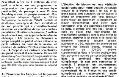 VAL-DE-MARNE: les communistes du PRCF soutiennent le candidats de LA FRANCE INSOUMISE