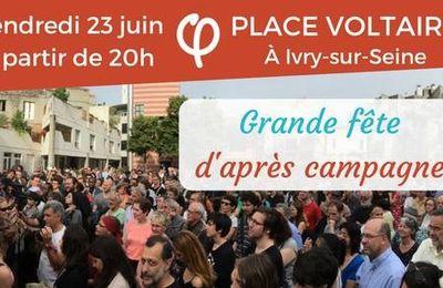 VAL-DE-MARNE- Mathilde Panot, députée insoumise, vous invite à une grande fête d'après campagne, vendredi 23 juin 2017 - 20 h - Ivry-sur-Seine