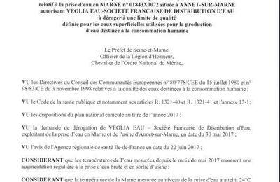 L'Agence Régionale de Santé autorise l'usine de distribution d'eau Veolia d'Annet sur Marne de déroger à une limite de qualité pendant 2 mois