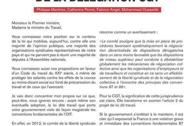 Loi travail : lettre de la CGT au 1er ministre et à la ministre du travail