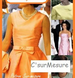 Vintage :  robe Jackie-K orange, à faire sur-Mesure