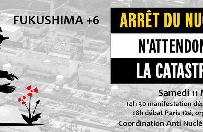 Il y a 6 ans, Fukushima, manifestons samedi !
