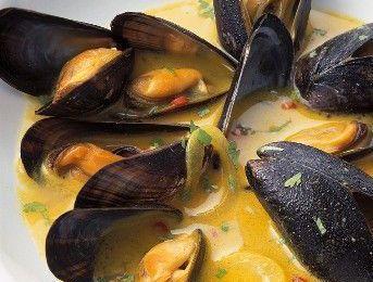 Moules au curry & coco
