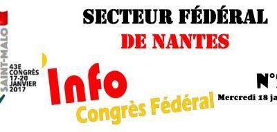Congrès Fédéral : Info n°2 du 18 janvier