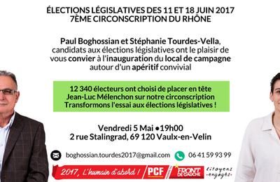 Inauguration du local de campagne, Vendredi 5 mai à 19h !