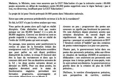 Comité technique ministériel du 15 décembre 2016 : la déclaration de la CGT Educ'action