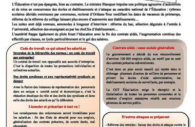 Grève fonction publique du 10 octobre : le tract de la CGT Educ'action