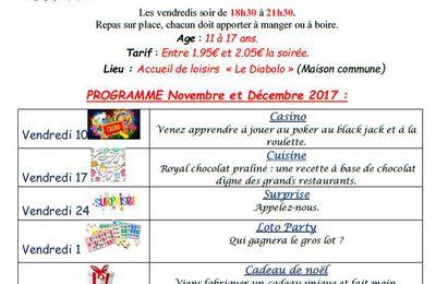 Soirées Jeunes Mélinois de Novembre et Décembre 2017