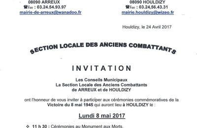 Invitation à la Cérémonie du 8 mai 2017 à Houldizy