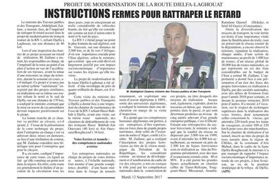 Route Djelfa-Laghouat: Instructions Fermes pour Rattraper le Retard