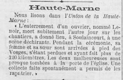 DISPARITIONS AU TUNNEL DE SOULAINCOURT - ECHENAY 1891