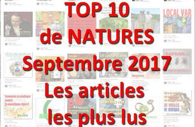 TOP 10 de NATURES : les articles les plus lus au 1er septembre 2017