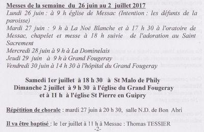 Messes de la semaine du 26 Juin  au 2 Juillet 2017