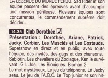 Club Dorothée : programmes de 1988-1989