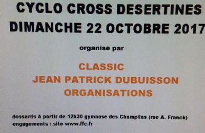 Demain, cyclo-cross de Désertines