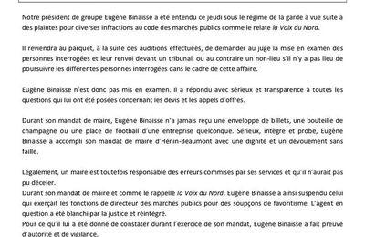 Communiqué du groupe Agissons Unis pour Hénin-Beaumont