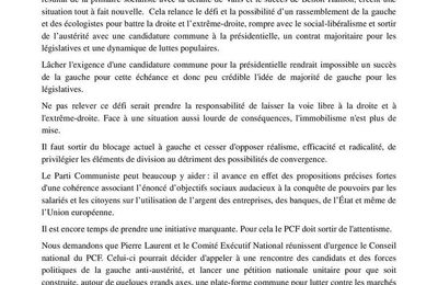 Campagne présidentielle et unité de la gauche antilibérale de Hamon à Mélenchon : des membres du PCF appellent à sortir de l'immobilisme