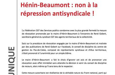 Hénin-Beaumont : non à la répression antisyndicale !