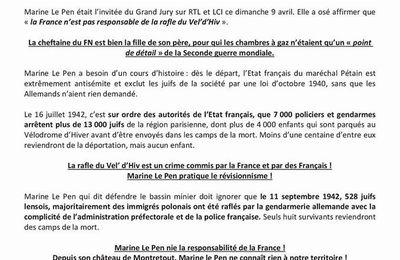 Propos de Marine Le Pen sur la rafle du Vel' d'Hiv :  le révisionnisme historique du FN est une insulte aux victimes !