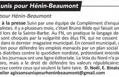 La tribune libre de l'opposition (Hénin-Beaumont c'est vous n°33, mai 2017)