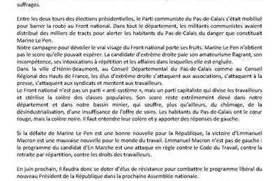 Réaction du PCF 62 au résultat du second tour des élections présidentielles
