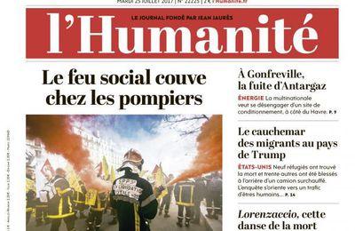 A la une de l'Humanité (25-07-17)