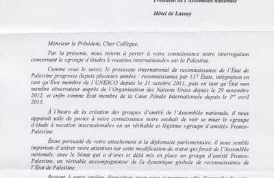 Les députés communistes écrivent au président de l'Assemblée nationale pour former un groupe d'amitié France-Palestine