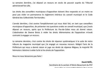 Hénin-Beaumont : le PCF dépose un recours contre les droits de réponse abusifs du FN