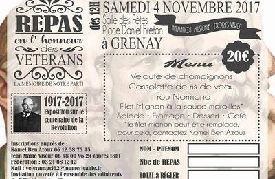 Le repas des vétérans des communistes du Pas-de-Calais aura lieu le 4 novembre à Grenay
