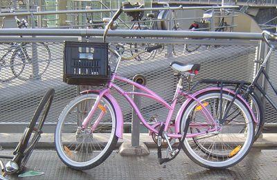 Amsterdam, la ville vue du vélo, le beau vélo rose, sociologie urbaine