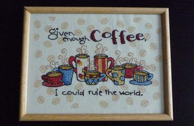Café brodé et encadré