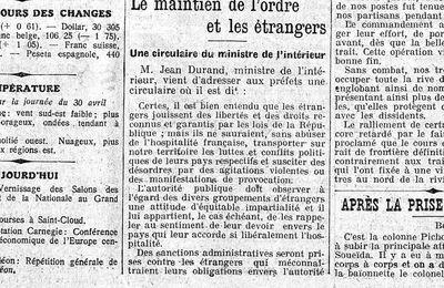 Le maintien de l'ordre des étrangers : Une directive du Ministre de l'Intérieur aux prêfets .