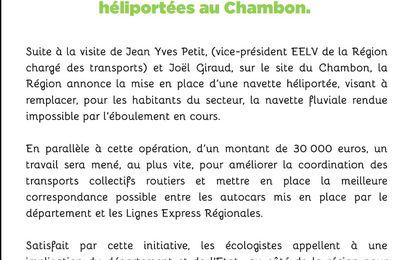 Hautes Alpes :La Région Provence Alpes Côte d'Azur va mettre en place des navettes héliportées au Chambon...