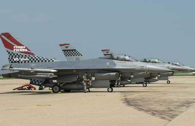 """General Dynamics F-16s """"Fighting Falcon"""" - 51th Tactical Fighter Wing - 36th Fighter Squadron """"The Fabulous Flying Fiends"""" - 100th anniversary"""