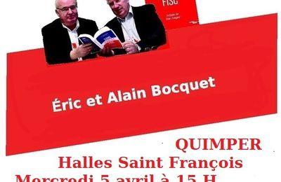 """Rencontre-débat avec Eric et Alain Bocquet, auteurs de """"Sans domicile fisc"""" le mercredi 5 avril à Quimper (15h, co-voiturage à 13h15 à Morlaix)- L'évasion fiscale, si on en parlait?"""
